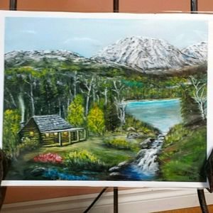 """NWT Print by Bill Trotz """"Cabin in the Woods"""""""